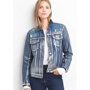 Gap Icon Metallic Ombré Denim Jacket Small Jean
